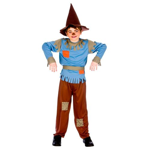 Childrens Boys Scarecrow Costume for oz Farmer Bird Scarer Halloween Fancy Dress